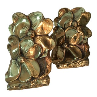 1960s Art Deco Brass Dogwood Bookends - a Pair