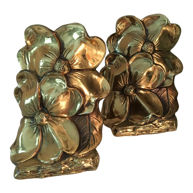 1960s Art Deco Brass Dogwood Bookends - a Pair For Sale