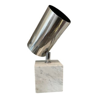 Vintage 1970s Neal Small for Koch Lowy Marble and Brass Lamp For Sale