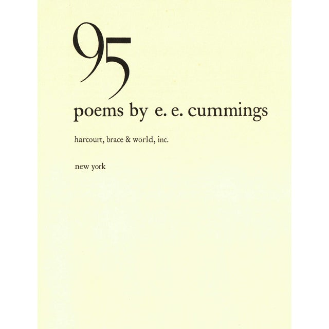 95 Poems by e. e. cummings. New York: Harcourt, Brace & World, Inc., 1958. 95 pages. Hardcover with dust jacket.
