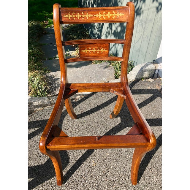 1920s Vintage English Regency Style Brass Inlaid Dining Chairs- Set of 4 For Sale - Image 11 of 13
