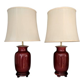 Ming Style Ox Blood Red Porcelain Vase Tea Lamps - a Pair For Sale