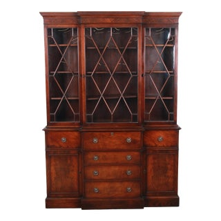 Baker Furniture Mahogany Breakfront Bookcase Cabinet With Secretary Desk, Circa 1940s For Sale