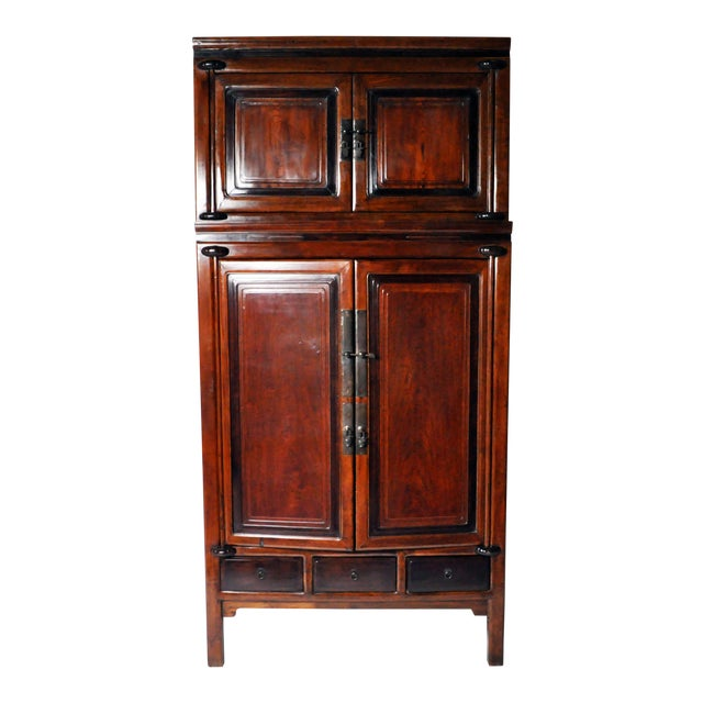 Impressive Two Section Cabinet With Five Drawers For Sale