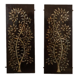 "Pair of MOP Inlaid ""Tree of Life"" Vietnamese For Sale"