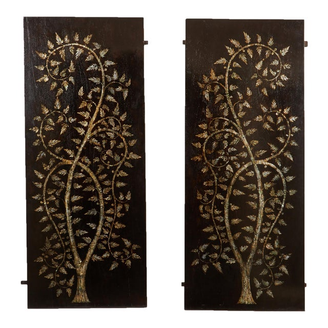 """Pair of MOP Inlaid """"Tree of Life"""" Vietnamese For Sale"""