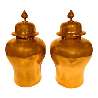 Pair of Chinese Style Brass-Clad Hardwood Temple Jars C. 1980s For Sale