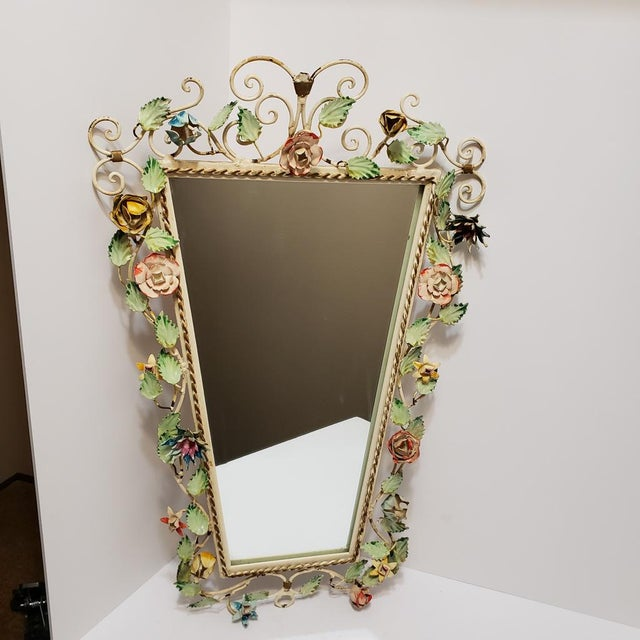 Vintage Italian Shabby Chic Floral Tole Wall Mirror For Sale - Image 10 of 10