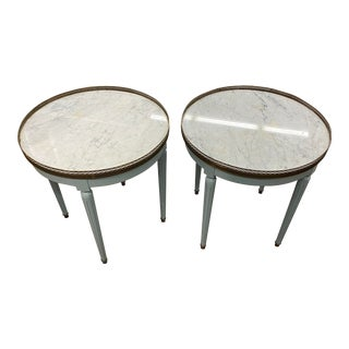 Round Marble Top Table With Brass Gallery For Sale