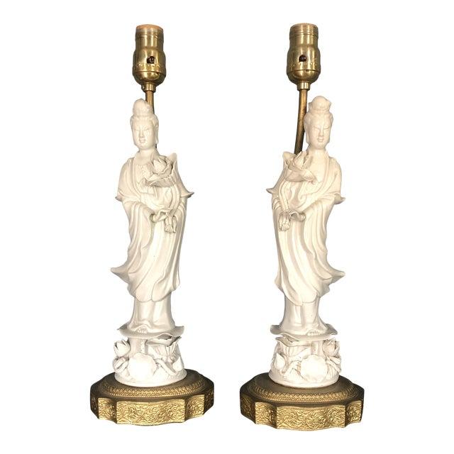 Blanc De Chine Quan Yin Goddess Table Lamps - a Pair For Sale