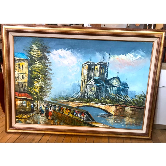Late 20th Century Notre Dame and the Seine Framed Oil on Canvas Painting For Sale - Image 10 of 10