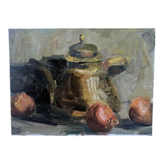 Still Life Oil Painting Teapot and Oranges For Sale