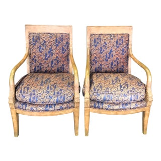 1940s Vintage Antique French Empire Style Armchairs- A Pair For Sale