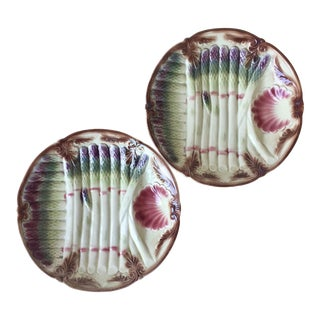 2 Antique French Majolica Asparagus Plates