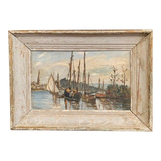 L. Bolleri Late 19th Century Italian Boat Painting on Board in Painted Frame Signed Bolleri Circa 1890 For Sale