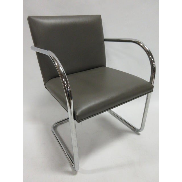 Mid-Century Modern Mies Van Der Rohe Brno Guest Chair in Brown - a Pair For Sale - Image 3 of 10