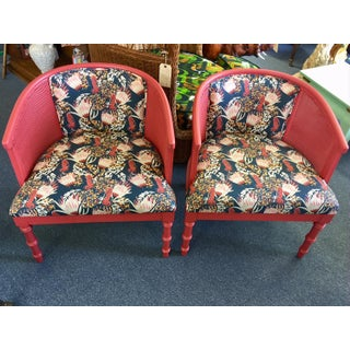 1970s Vintage Upholstered Caned Barrel Chairs - A Pair Preview