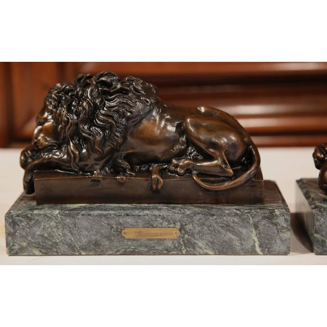 19th Century French Bronze Lions on Marble Bases Signed J. Moigniez - a Pair - Image 6 of 10