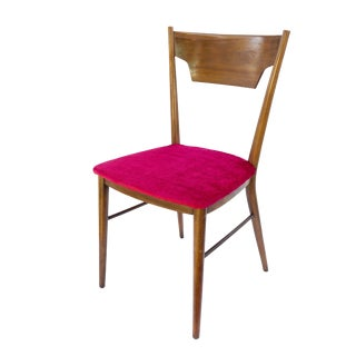 Mid-Century Danish Modern Desk/Occasional Chair || Magenta Velvet Upholstery Walnut Wood Accent Seating