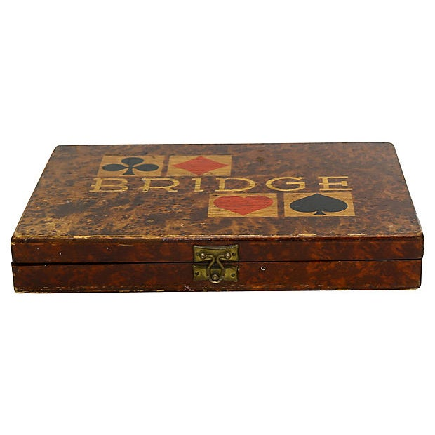 1941 German wood bridge box. Original papers, playing cards & score cards inside. Paper inside dated November 1941. No...