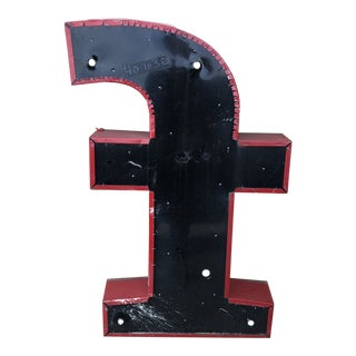 Industrial Red Metal Letter F For Sale