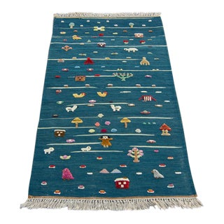 "Anatolian Handmade Kids Kilims Rug - 4'9"" x 2'11"" For Sale"