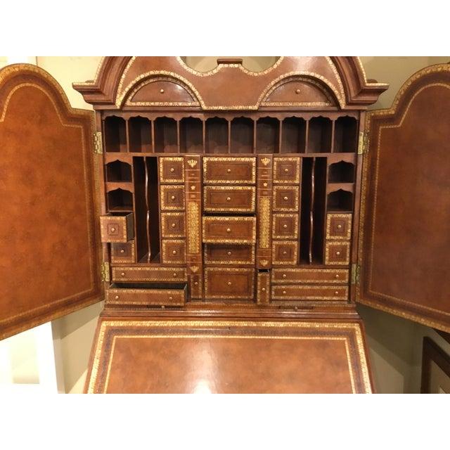 Maitland - Smith Maitland Smith Traditional Tooled Leather Secretary Desk For Sale - Image 4 of 10