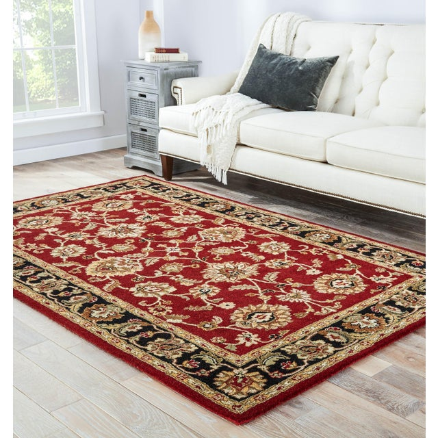 2020s Jaipur Living Anthea Handmade Floral Red Black Round Area Rug 8'X8' For Sale - Image 5 of 6