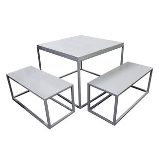 Minimalist Metal Table and Benches - 3 Piece Set For Sale