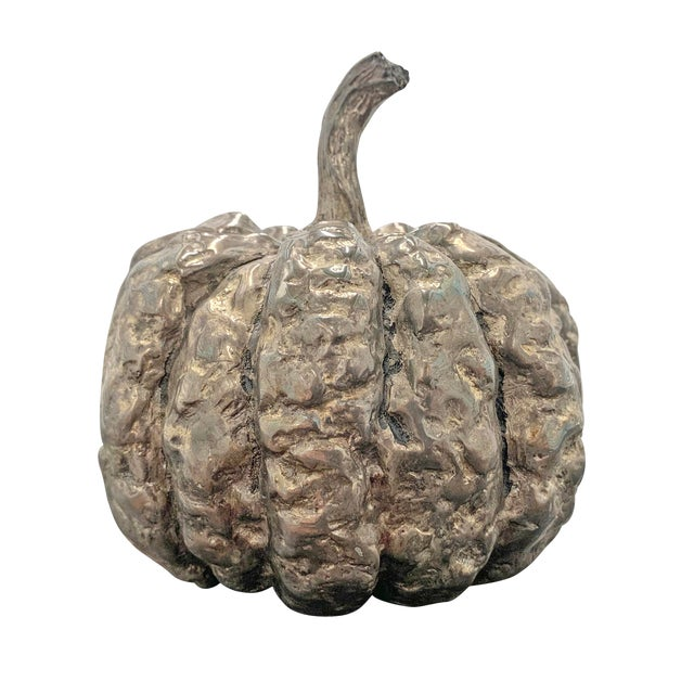 Late 20th Century Silver-Plated Cast Pumpkin Table Ornament For Sale
