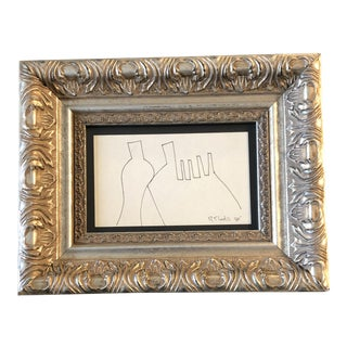 Original Vintage Robert Cooke Miniature Abstract Ink Drawing 1980 For Sale