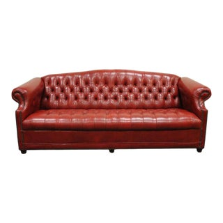 Vintage Red Leather English Chesterfield Style Button Tufted Sofa by Jasper For Sale
