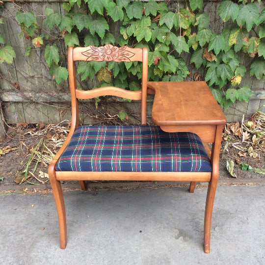 Gossip Telephone Table with Plaid Seat - Image 3 of 6