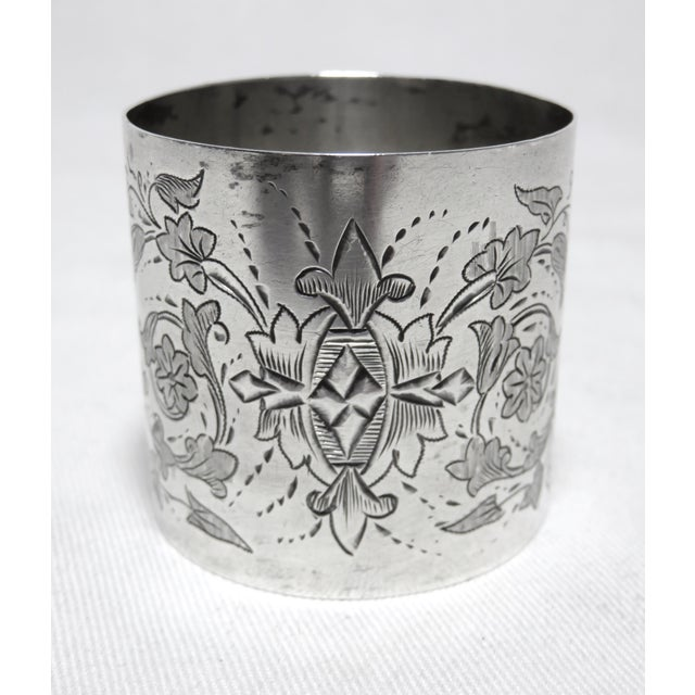 Traditional Large Antique Sterling Silver Napkin Ring For Sale - Image 3 of 7