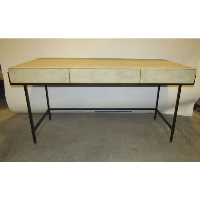 Contemporary Lillian August Simone Shagreen and Metal Desk For Sale - Image 9 of 9