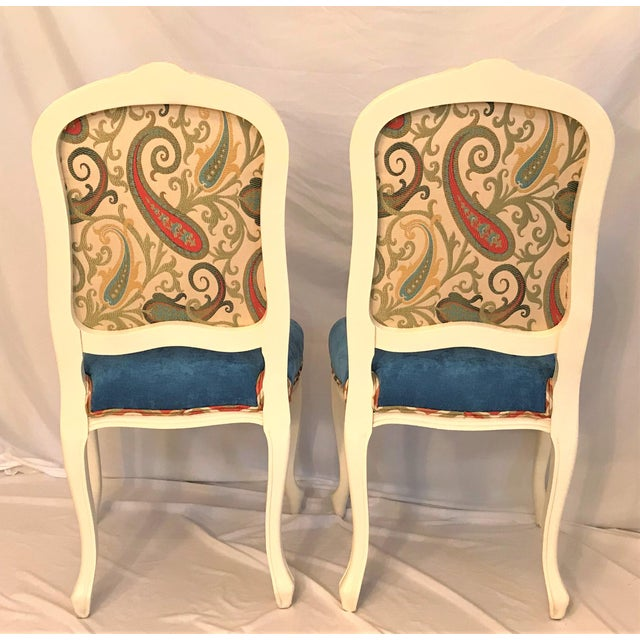 French Early 20th Century Louis XV Château d'Amboise Parcel Gilt Velvet & Tapestry Chairs - a Pair For Sale - Image 3 of 9