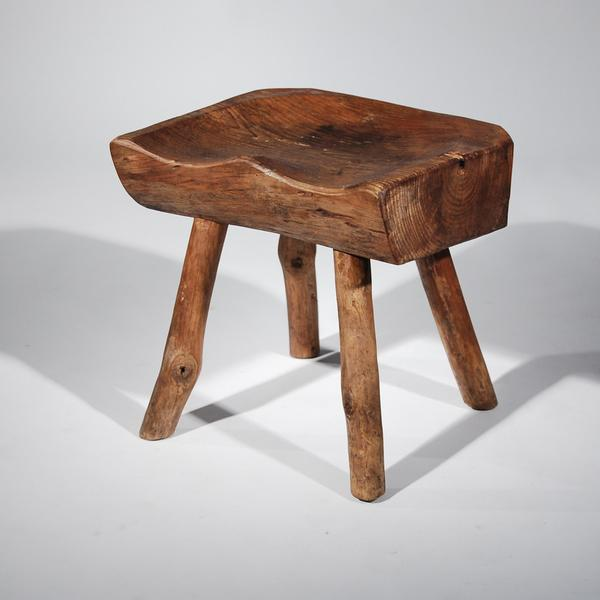 Small Wooden Carved Stool For Sale - Image 5 of 11