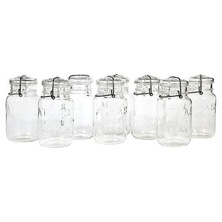 Large Kitchen Glass Canning Jars, Set of 8