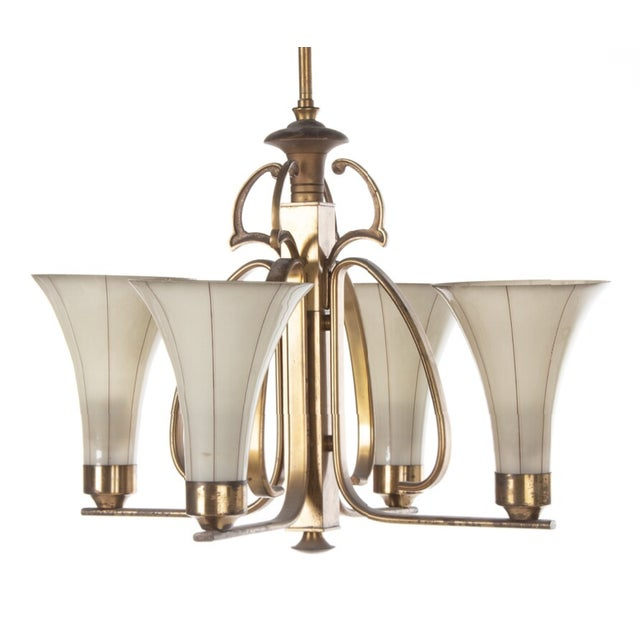 Art Deco Opaline Glass Chandelier For Sale - Image 4 of 6