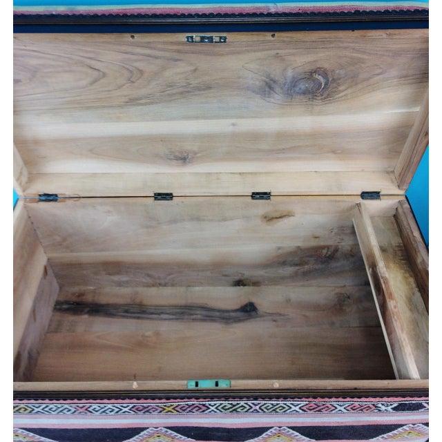 Antique Turkish Kilim Cedar Storage Trunk Bench For Sale - Image 9 of 10