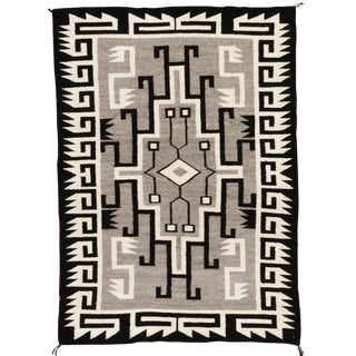 "Vintage Navajo Two Gray Hills Rug - 3'7"" X 5' For Sale"