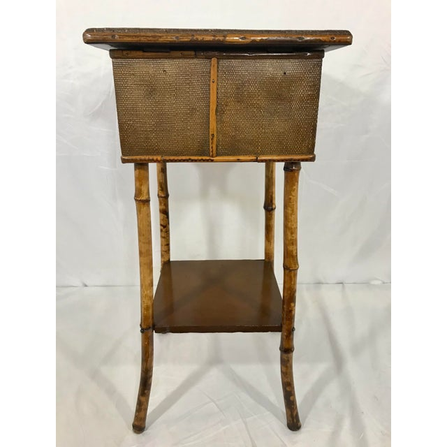 English 19th Century Bamboo Sewing Table For Sale - Image 4 of 9