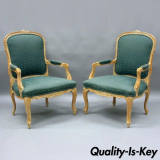 Vintage Mid Century Country French Louis XV Style Living Room Arm Chairs- A Pair Preview