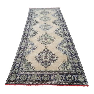 Vintage Woven Turkish Oushak Carpet Gallery Rug With Modern Traditional Style, Wide Hallway Runner With Muted Soft Colors 3'11'' X 10'10'' For Sale