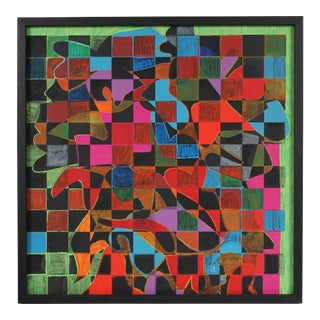 Geometric Abstract Painting With Squares, Acrylic Painting, Circa 1970s