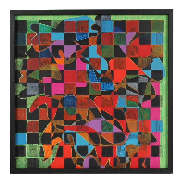 Geometric Abstract With Squares Acrylic Painting, Circa 1970s For Sale
