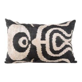 Chintamani Ottoman Silk Velvet Ikat Pillow