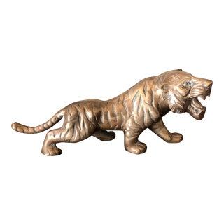 1970s Figurative Brass Tiger Figurine