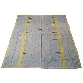 Vibrant Indian Blue Kantha With Unique Geometric Details For Sale