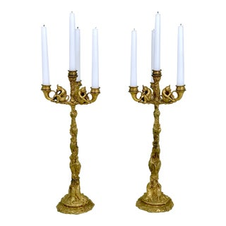 Christophe Fratin Four-Light Candelabra With Birds and Monkeys - a Pair